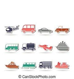 ikonok, szállítás, utazás