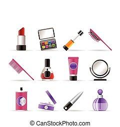 ikonok, szépség, konfekcionőr, kozmetikai