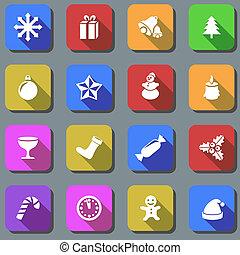 ikonok, szín, alföld, effect., vektor, árnyék, karácsony