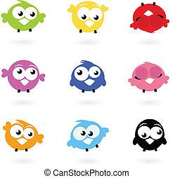 ikonok, szín, csicsergés, csinos, madarak, elszigetelt, whi, vektor, gyűjtés