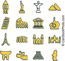 ikonok, szín, iránypont, 2, freehand, világ