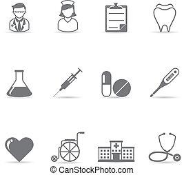 ikonok, szín, -, orvosi, egyedülálló