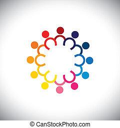 ikonok, színes, -, karika, álló, vektor, gyerekek, fogalom