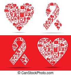 ikonok, szív, csinál, aids, orvosi