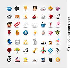 ikonok, szövedék internet, állhatatos, website, &, ikonok