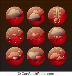 ikonok, szeret, időjárás