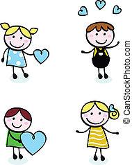 ikonok, szeret, szórakozottan firkálgat, retro, elszigetelt, gyerekek, öltés, fehér