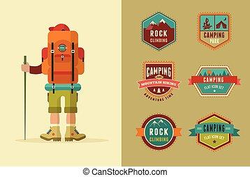 ikonok, tábor, -, állhatatos, elements., backpacker, vektor, poszter, jelvény, természetjárás