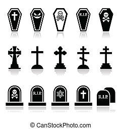 ikonok, társaság, -, állhatatos, mindenszentek napjának előestéje, temető
