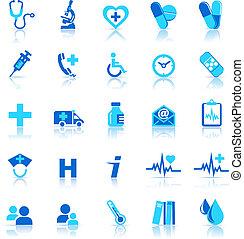 ikonok, törődik, egészség