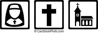 ikonok, templom áthalad, apáca, cégtábla, vallásos