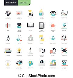 ikonok, tervezés, online, lakás, oktatás