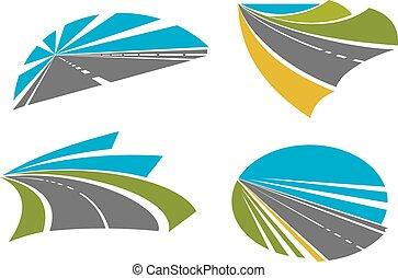 ikonok, tervezés, utazó, közútak, gyors, autóút