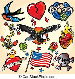 ikonok, tetovál, retro