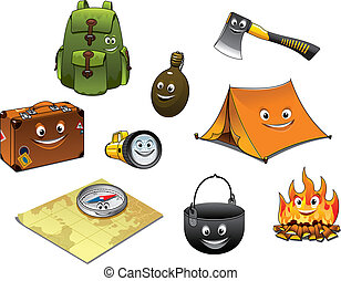 ikonok, utazás, állhatatos, kempingezés, karikatúra