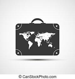 ikonok, utazás, vektor, bőrönd