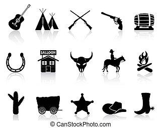 ikonok, vad nyugat, állhatatos, cowboys, &