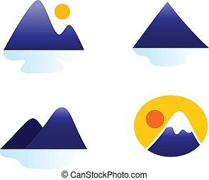 ikonok, vagy, dombok, hegyek, elszigetelt, gyűjtés, fehér