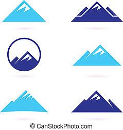 ikonok, vagy, hegy, elszigetelt, hegy, fehér