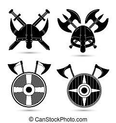 ikonok, viking, háttér, elszigetelt, állhatatos, vektor, fehér