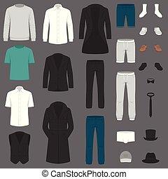 illeszt, állhatatos, nadrág, ing, fashion., clothes., zakó, vektor, ember