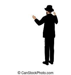 illeszt, alkotás, parancsolat, g-d, figyelmes, őt szimbolizál, hit, vector., néz, festmény, zsidó, van, admiration., háttér, kalap, fárasztó, pozitív, színes, 1., chassid, ember, fehér