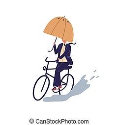 illeszt, elszigetelt, háttér., lakás, tócsa, nap, esernyő, karikatúra, irány, fehér, vektor, bicikli, ősz, hím, biciklizés, legyőző, ember, lovagol, üzletember, alatt, kerékpározás, esős, illustration., obstacles.