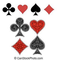 illeszt, játék kártya, ikonok