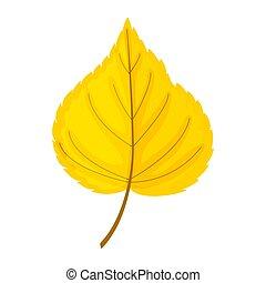 illu, vektor, elszigetelt, ősz, fehér, sárga lap, háttér.