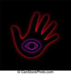 illuminati, látás, eye-, minden