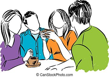 illust, együtt, kávécserje időmérés, barátok