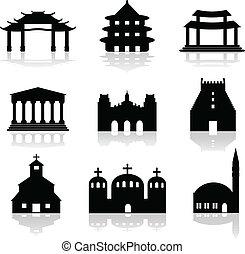 illustrat, különféle, halánték, templom