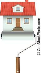 illustration., épület, elszigetelt, háttér., otthon, fehér, construction., ikon