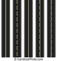 illustration., aszfalt, seamless, vektor, dark., roads.
