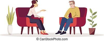 illustration., betű, room., consultation., kényelmes, rgb, meeting., birtoklás, elszigetelt, terápia, emberek, vektor, interview., karikatúra, lélektan, szín, párosít, armchairs., beszélgetés, ülésszak, semi, lakás, fehér