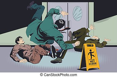 illustration., cégtábla., businessman's, floor., vízesés, figyelmeztetés, nedves, részvény