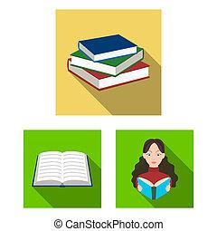 illustration., cégtábla., könyvtár, bitmap, tervezés, tankönyv, gyűjtés, részvény