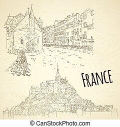 illustration., card., concept., vektor, sketching., idegenforgalom, mont saint-michel, annecy., egyenes, állhatatos, város, utazás, művészet, franciaország, silhouette.