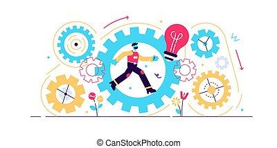 illustration., consistent, munka, vektor