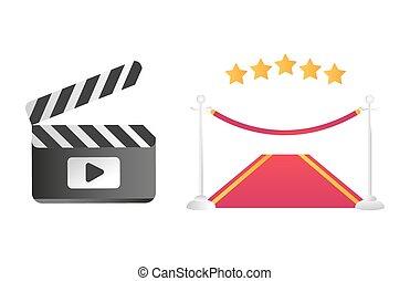illustration., csattogó, vektor, út, piros, bizottság