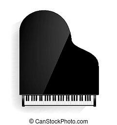 illustration., elszigetelt, shadow., gyakorlatias, vektor, fekete, nagy, keyboard., zongora, ikon