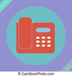illustration., -, elszigetelt, telefon, vektor, ikon