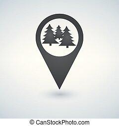 illustration., elszigetelt, vektor, elhelyezés, icon., erdő