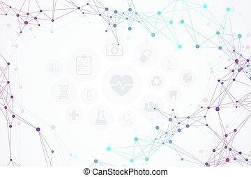 illustration., elvont, modern, ikonok, háttér, orvosi, vektor, molekulák, technológia, concept., hálózat