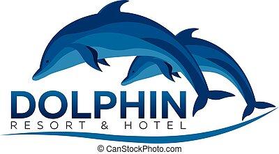 illustration., erőforrás, vektor, hotel., dolphinarium., delfin, logo., lakás