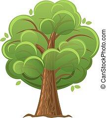 illustration., fa, tölgyfa, vektor, zöld, foliage., karikatúra, buja