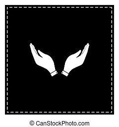 illustration., fogad kezezés, fekete, könyörgés, fehér, folt, jelkép., ikon
