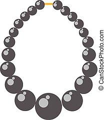 illustration., gyöngyszem, vektor, fekete, célgömb, nyaklánc