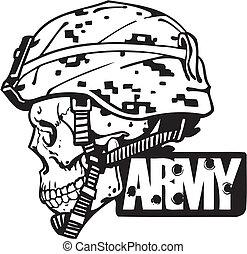 illustration., hadsereg, -, bennünket, vektor, tervezés, hadi