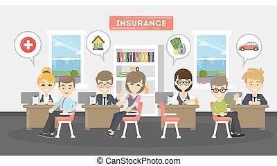 illustration., hivatal, biztosítás